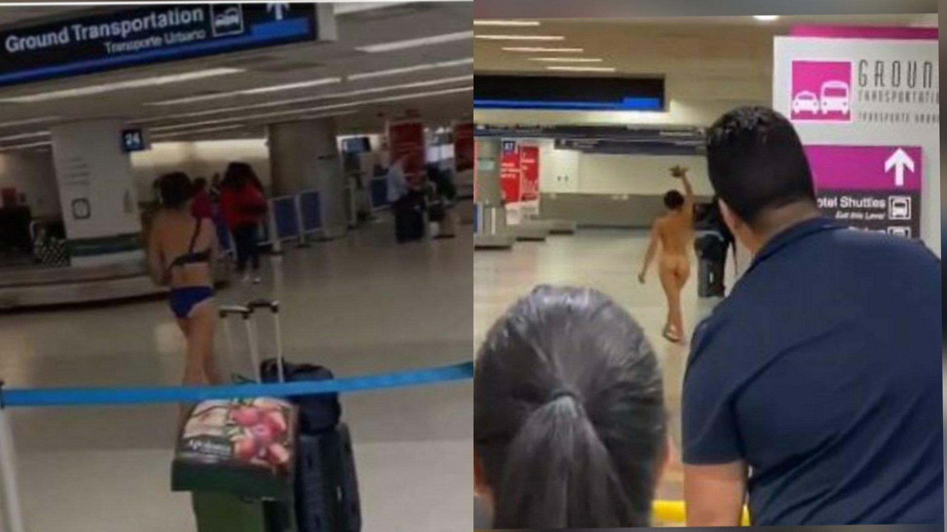 Mujer se desnuda en el Aeropuerto Internacional de Miami y se sube al techo de un auto