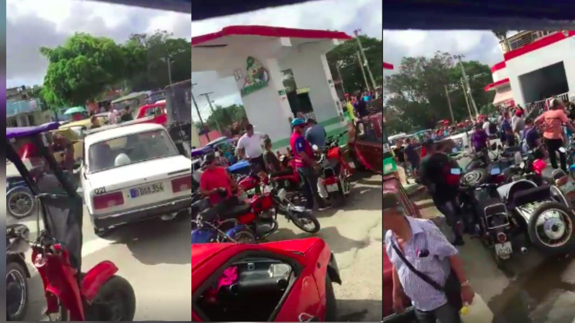 Colas kilométricas en los Servicentros de Holguín para comprar de gasolina (FOTO CAPTURA FACEBOOK ADNIEL GONGORA)