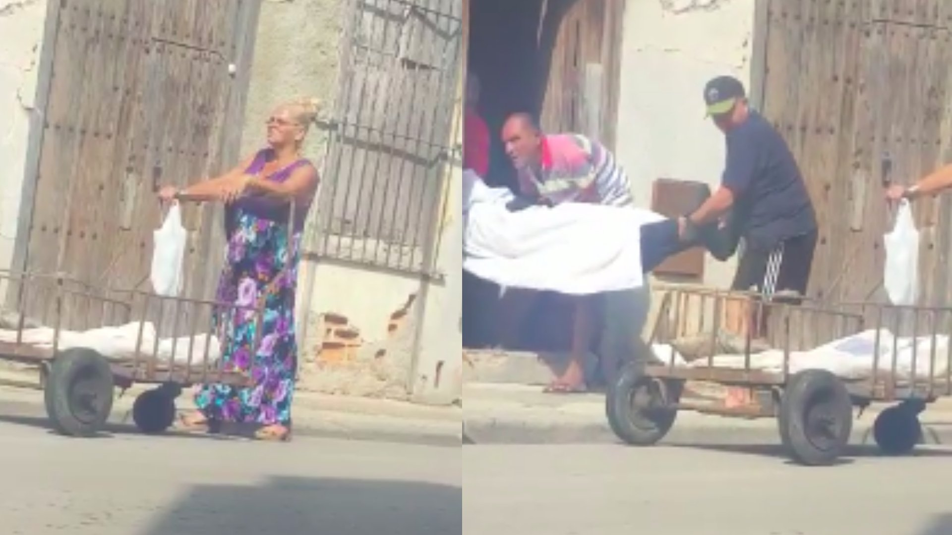 En La Habana familia traslada fallecido en carretilla hasta la funeraria a falta de carro fúnebre