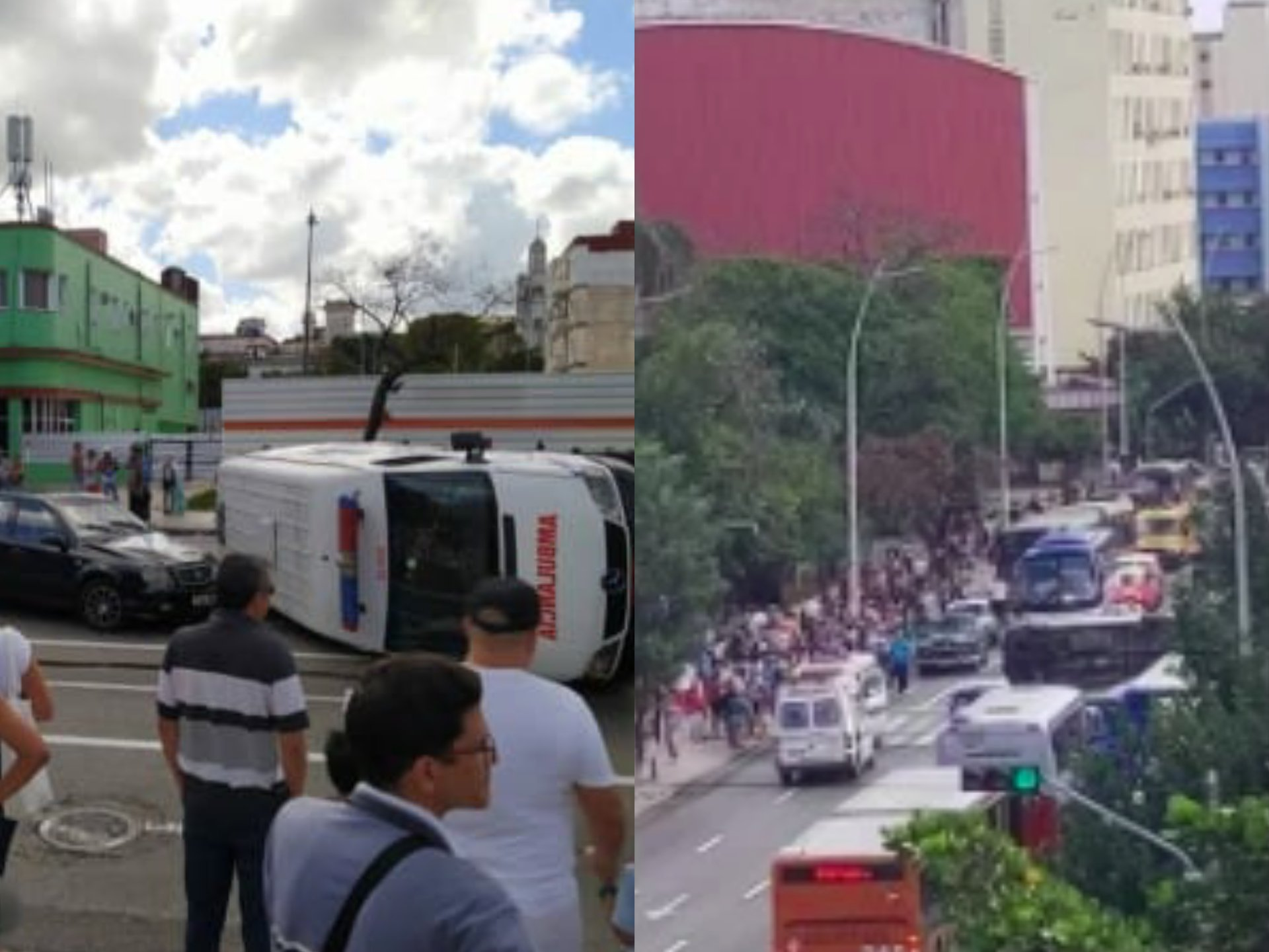 Fatal accidente frente al Coppelia: Ambulancia termina volcada (FACEBOOK JANCEL MORENO)
