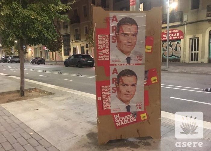 Carteles de Pedro Sánchez, en Barcelona