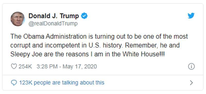 "Trump califica de ""corrupta e incompetente"" administración de a Obama"