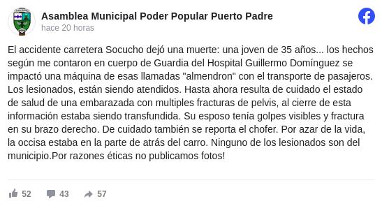 Fallece joven y una embarazada pierde a su bebé durante accidente de tránsito en Puerto Padre