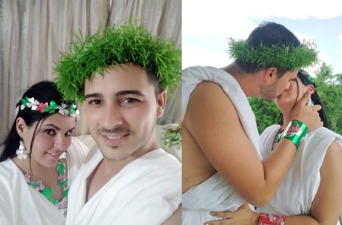 Cirujanos cubanos celebran peculiar boda en centro de aislamiento por coronavirus en Matanzas