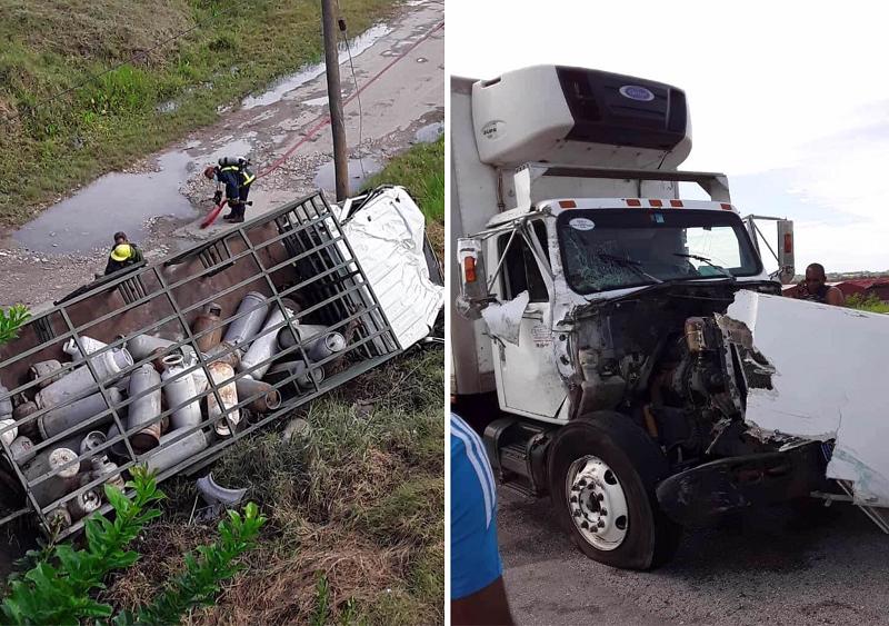 Camión que transportaba balitas de gas cae de un puente en San Miguel del Padrón (Yasumary Carrera-Facebook)